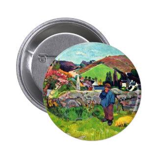 Paisaje bretón con Swineherd de Gauguin Paul Pins