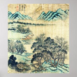 Paisaje chino 1730 póster