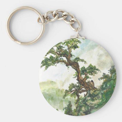 Paisaje chino del árbol de pino llaveros personalizados