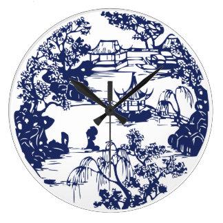 Paisaje chino hermoso de la pagoda reloj redondo grande
