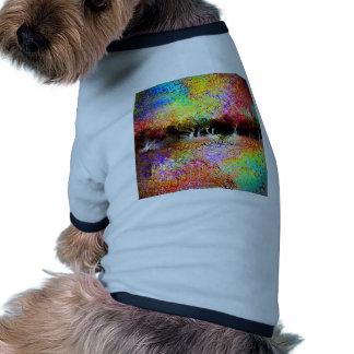 Paisaje colorido camisas de mascota