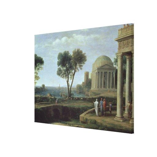 Paisaje con Aeneas en Delos, 1672 Impresión En Lona Estirada