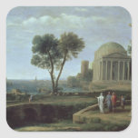 Paisaje con Aeneas en Delos, 1672 Calcomanía Cuadrada Personalizada