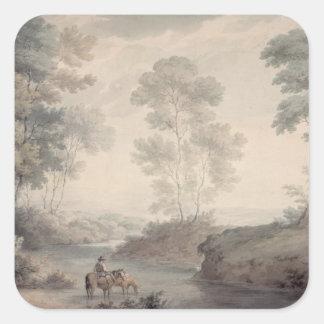 Paisaje con agua del río y de los caballos pegatina cuadrada