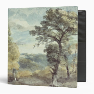 """Paisaje con árboles y una mansión distante carpeta 1 1/2"""""""