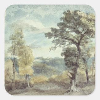 Paisaje con árboles y una mansión distante pegatina cuadrada