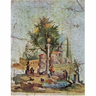 Paisaje con el árbol sagrado por Pompejanischer Fotoescultura Vertical