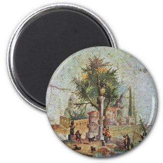 Paisaje con el árbol sagrado por Pompejanischer Imán Redondo 5 Cm