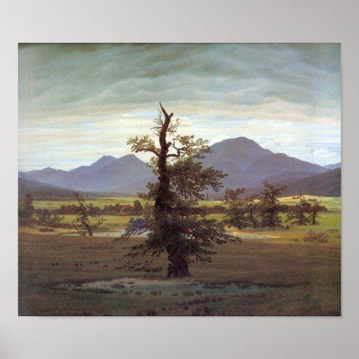 Paisaje con el árbol solitario póster