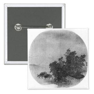 Paisaje con el búfalo de agua, dinastía de canción pin cuadrada 5 cm