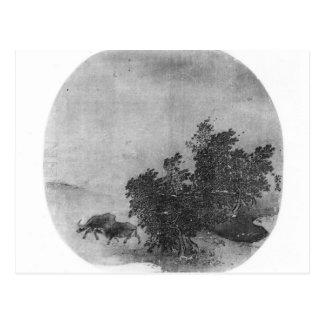 Paisaje con el búfalo de agua, dinastía de canción postal
