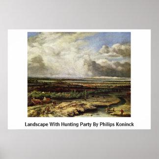 Paisaje con el fiesta de la caza por Philips Konin Posters