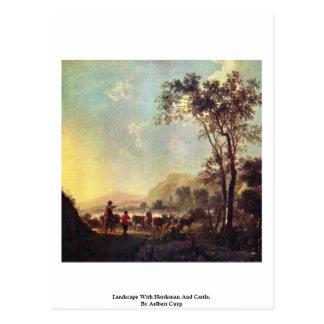 Paisaje con el ganadero y el ganado tarjeta postal