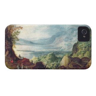 Paisaje con el mar y las montañas (aceite en lona) iPhone 4 cárcasas