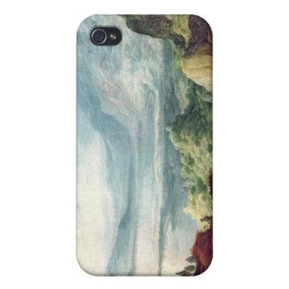 Paisaje con el mar y las montañas (aceite en lona) iPhone 4/4S funda