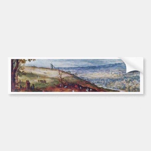 Paisaje con el molino de viento por Bruegel D. Ä.  Etiqueta De Parachoque