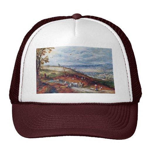 Paisaje con el molino de viento por Bruegel D. Ä.  Gorras De Camionero