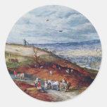 Paisaje con el molino de viento por Bruegel D. Ä. Pegatinas Redondas