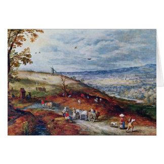 Paisaje con el molino de viento por Bruegel D. Ä.  Tarjeta