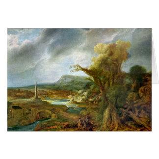 Paisaje con el obelisco de Rembrandt Tarjeta