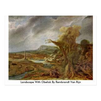 Paisaje con el obelisco de Rembrandt Van Rijn Tarjetas Postales