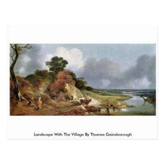 Paisaje con el pueblo de Thomas Gainsborough Tarjeta Postal