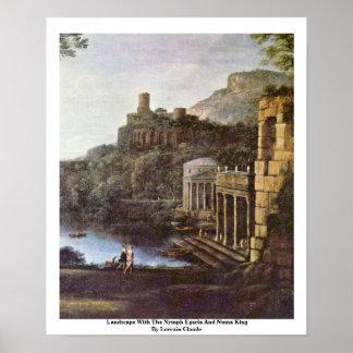 Paisaje con el rey del Egeria y de Numa de la ninf Poster