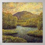 paisaje con el río y los árboles poster