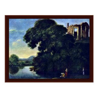 Paisaje con el templo de Vesta en Tivoli Postal