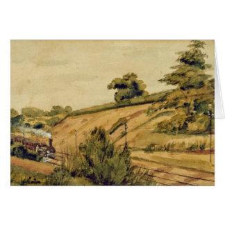 Paisaje con el tren, 1854 (w/c y lápiz en pape tarjeta de felicitación