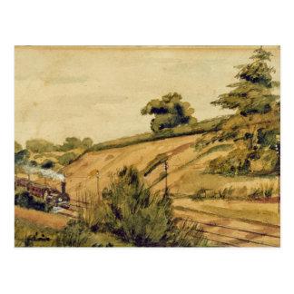 Paisaje con el tren, 1854 (w/c y lápiz en pape tarjeta postal