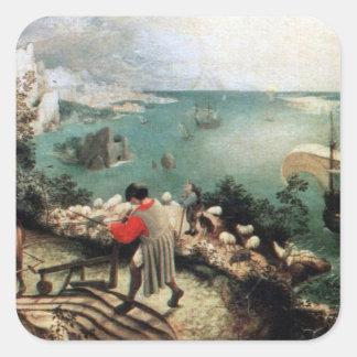 Paisaje con la caída de Ícaro - 1558 Calcomanía Cuadradas Personalizadas