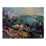 Paisaje con la caída de Ícaro por Bruegel D. Ä. Postal