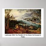 Paisaje con la parábola del sembrador por Bruegel Posters