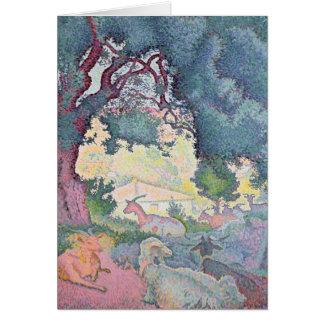 Paisaje con las cabras, 1895 tarjeta de felicitación