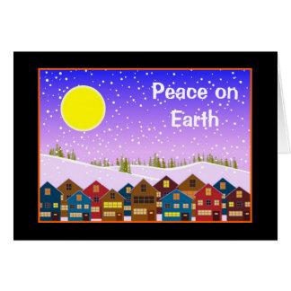 Paisaje con las casas y la nieve tarjeta pequeña
