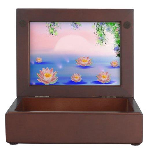 paisaje con las flores de loto caja de recuerdos