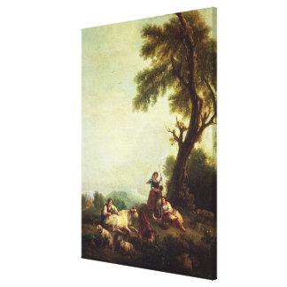 Paisaje con los campesinos que miran una manada de impresión en lienzo estirada