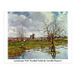 Paisaje con los campos inundados de Camille Pissar Postal
