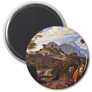 Paisaje con los exploradores de la tierra prometid iman de nevera