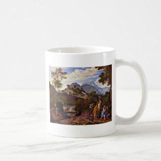 Paisaje con los exploradores de la tierra prometid tazas de café