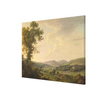 Paisaje con los Haymakers y una vista distante de  Impresiones De Lienzo