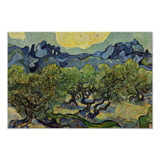 Paisaje con los olivos de Vincent van Gogh Posters