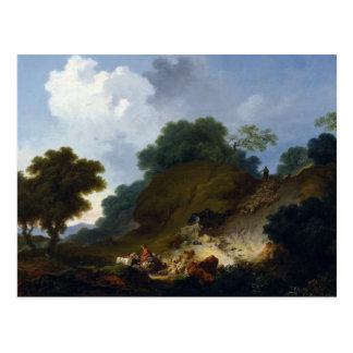 Paisaje con los pastores por Fragonard Postales