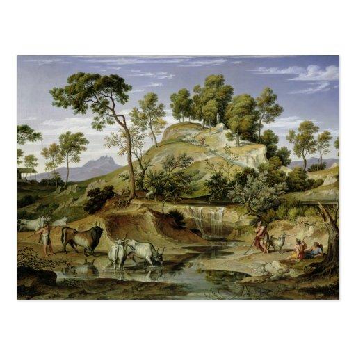 Paisaje con los pastores y las vacas tarjetas postales