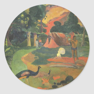 Paisaje con los pavos reales de Paul Gauguin Pegatina Redonda