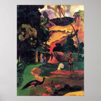 Paisaje con los pavos reales por Gauguin Póster