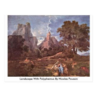Paisaje con Polyphemus de Nicolás Poussin Postal