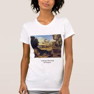 Paisaje con puesta del sol por Giorgione Camiseta