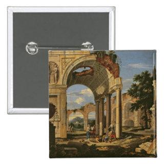 Paisaje con ruinas, 1673 pin cuadrada 5 cm